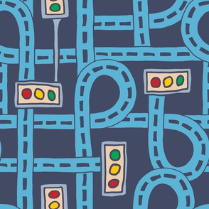 Blue Roadways Repeat Traffic Lights Kids Children