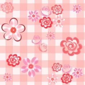 Floating Floral - Gingham Pink