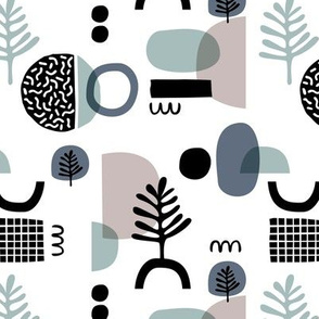 Abstract paper cut style minimal geometric shapes and leaves neutral black white stone gray blue winter