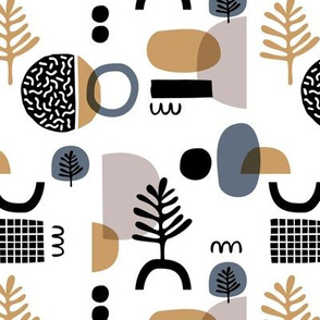 Abstract paper cut style minimal geometric shapes and leaves neutral black white stone gray gold winter