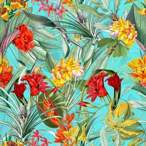 "18"" Vintage Tropical Palm Jungle, Palm fabric,vintage hawaiian fabric on teal"