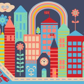 Kawaii Playmat City Kids Buildings Red Blue Green