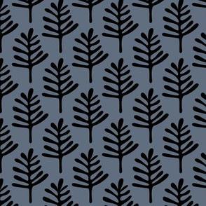 Minimal paper cut style little tree design organic garden leaves winter blue
