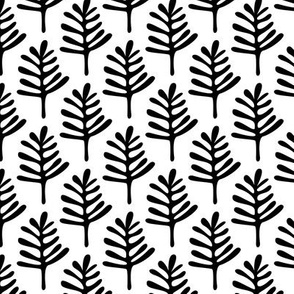 Minimal paper cut style little tree design organic garden leaves winter black and white monochrome