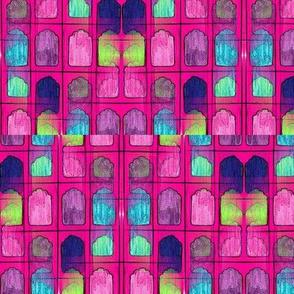 Taj Mahal Pink/Green Textile Print