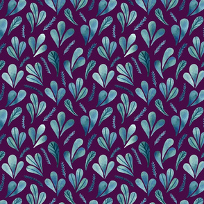 Leafs Ferns Purple Background