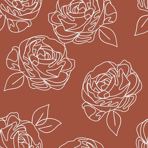Minimalist roses on terracotta 18""