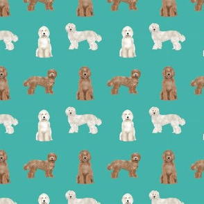 labradoodle simple (SMALL) unique dog breed fabric turquoise