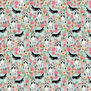 husky florals (tiny) fabric cute light mint fabric best husky dogs fabric cute husky design best husky dogs fabrics cute husky fabrics