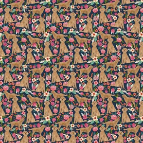 Golden Doodle floral (TINY) flowers dog fabric pattern dark