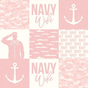 Navy Wife - military wife patchwork - pink  - LAD19