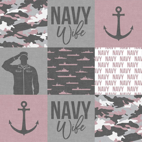 Navy Wife - military wife patchwork - mauve - LAD19