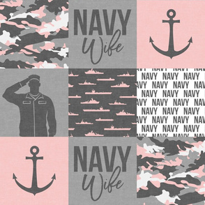 Navy Wife - Military Wife Patchwork - pink and grey -  LAD19