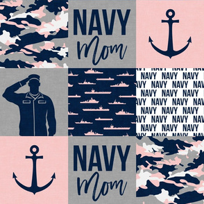 Navy Mom - military patchwork - pink and navy - LAD19