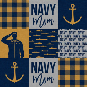 Navy Mom - military patchwork - gold and navy - LAD19
