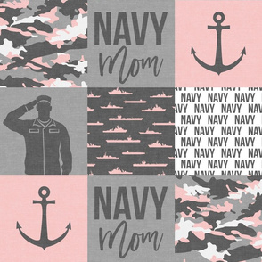 Navy Mom - military patchwork - pink and grey  - LAD19