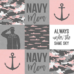 Navy Mom - always under the same sky - pink and grey - LAD19