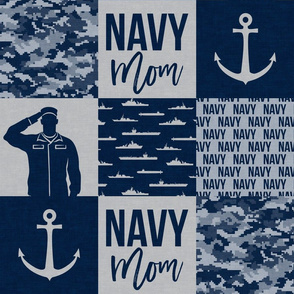 Navy Mom - military patchwork - navy - LAD19