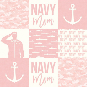 Navy Mom - military patchwork - pink  - LAD19