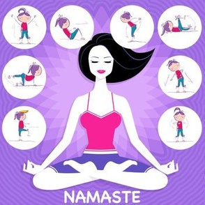 Fitness Namaste Meditation and Exercise on Purple