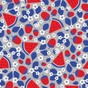Summer Strawberries and Melons (Red, White and Blue)