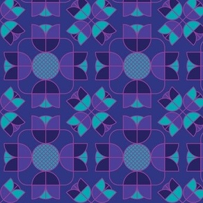 Geometric tulip mirror dark purple