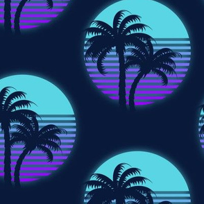Neon palm trees-Blue and purple