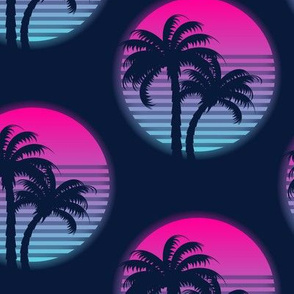 Neon palm trees-Pink and blue