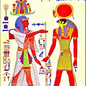 ancient egypt egyptian pharaoh gods Sun Ra Amun Similar Horus kings hieroglyphics falcons heads birds Ankh Cobras snakes colorful men  yellow red blue crowns offerings royalty tribal