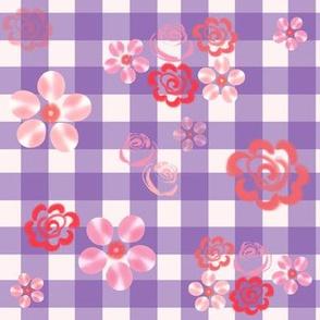 Floating Floral - Gingham Purple