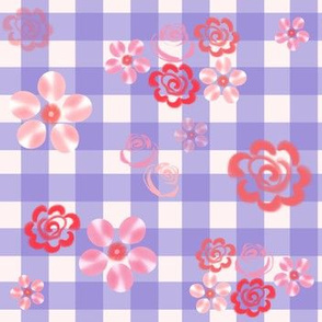 Floating Floral - Gingham French Blue