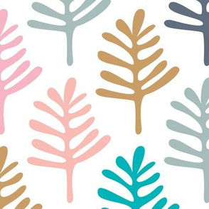 Minimal paper cut style little tree design organic garden leaves winter black and white pink ochre blue JUMBO