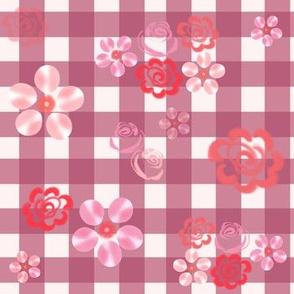 Floating Floral - Gingham Mauve