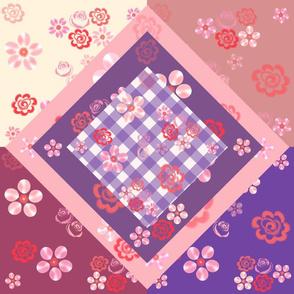 Floating Floral Quilt Block - Gingham