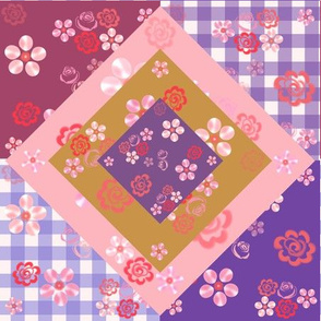 Floating Floral Cheater Quilt - Gold