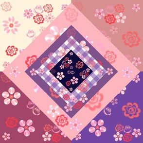 Floating Floral Cheater Quilt - Navy