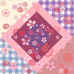 Floating Floral Cheater Quilt - Mauve