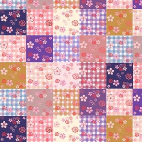 Floating Floral Patchwork Quilt - Small Scale