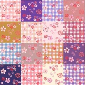 Floating Floral Patchwork Quilt - Medium Scale