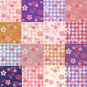 Floating Floral Patchwork Quilt - Large Scale