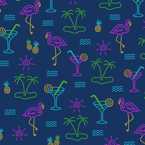 Neon Summer Cocktails, Flamingos & Palms fabric