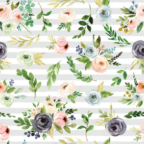 watercolor blush floral on gray stripes