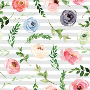 watercolor floral buds on gray stripe