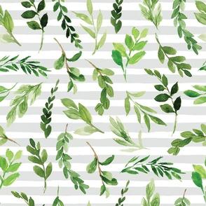 greenery on gray stripe