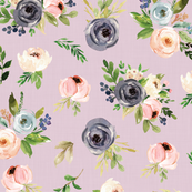 blush watercolor floral on pink linen