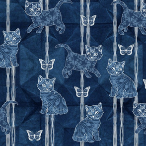 Shibori cats and butterflies