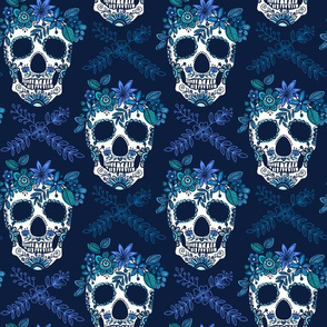 floral skull blues