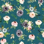 blush watercolor floral on teal linen