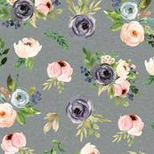 blush watercolor floral on teal green linen