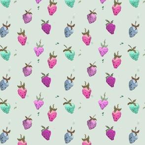 Watercolor Strawberries Summer